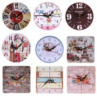 Vintage Wood Wall Time Clock Shabby Chic Rustic Kitchen Home Room Antique Decor