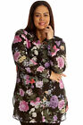 New Womens Plus Size Shirt Ladies Floral Print Top Chiffon Collared Cuffs Button