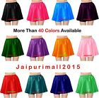 Women Girl Satin Short Mini Skirt Belly Dance Club Pleated Retro High Waist Jupe
