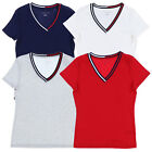 Tommy Hilfiger Womens T-Shirt Striped V-Neck Short Sleeve Tee Fitted Top New Th