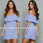 Woman Off-shoulder Cocktail Mini Dress One Piece Dress Blue Hot Mini Skirt S/M/L
