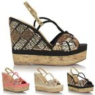Ladies Womens Peep Toe Strappy High Wedge Heel Espadrille Style Sandals Shoes