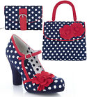 Ruby Shoo Hannah Bar Shoes & Matching Tortola Bag & Garda Purse UK 3-9 Navy Spot