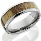 Titanium 8mm Domed Band with 5mm Spalted Tamarind Wood inlay