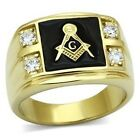 Lucia Men's Wholesale IP Gold Plated Stainless Steel Masonic  Fashion Ring 9-13