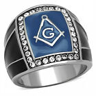 Men's Die=Cast Stainless Steel Top Grade Crystals blue Montana masonic ring