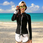 Women Rash Guards Lycra Long Sleeve Swim Surf Shirt Diving Beachwear+ Shorts Set