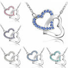Fashion Hot Women Silver Plated Crystal Love Heart Pendant Jewelry Necklace
