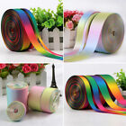 Rainbow Double Sided Pastel Satin Grosgrain Ribbon 9 13 25 38mm 38mm 50mm 75mm