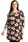 New Womens Top Plus Size Ladies Floral Print Swing Style Tunic Summer Round Neck