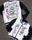 Six Bunnies Homeward Bound Varsity Jacket Kids Coat Old School Tattoo Ship Skull