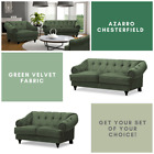New Azarro Chesterfield 3 2 1 Seater Sofa Suite Matt Velvet Fabric - Green