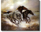 art horses - 3 Old West Horses #1 Black,1Brown & 1 White Ruane Manning Wall Art Print Picture