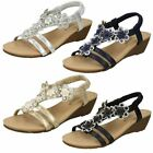 Ladies Savannah Mid Wedge Heel 3D Flower Detail Slingback Sandals F1R0788
