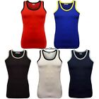 New Men's Muscle Coloured Piping Sleeveless Vest Top
