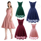 Women's New Vintage Boat Neck Lace Formal Wedding Cocktail Evening Party Dresses