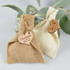 Hessian Bag with Wooden Gift Tag Wedding Favour Gift for Guests Beach Rustic Wow