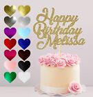 PERSONALISED HAPPY BIRTHDAY CAKE TOPPER, GLITTER CAKE CARD TOPPER, VARIOUS COLOU
