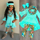 Boutique Toddler Kids Baby Girl Flower Top Dress Pants Legging Outfit Clothes US