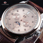Forsining Moon Phase Rose Gold Case Brown Leather Strap Men Auotmatic Watch