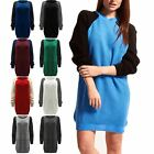 Womens Ladies Contrast Sleeve Chunky Knitted Oversized Sweater Jumper Dress Top