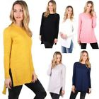 New Womens Ladies Plain Cotton Loose Long Sleeve T Shirt Top Basic Blouse Winter