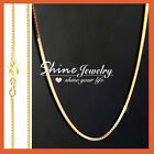 18k Yellow Gold Gf Solid Mens Women 16-24'' Box Chain Necklace For Pendant Charm