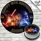 STAR WARS THE AWAKENING ROUND BIRTHDAY CAKE TOPPER DECORATION PERSONALISED