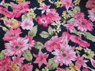Pink / yellow flowers on Navy background 3 metres fabric material