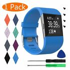 For Fitbit Surge Replacement Silicone Strap Watch Band Metal Buckle Screws tools
