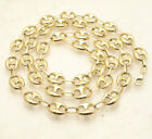 10mm Puffed Mariner Anchor Gucci Link Chain Necklace Real Solid 10K Yellow Gold