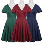 Evening Size Sleeve Retro Solid Vintage Party Swing V-neck Dress Hn Bridesmaid