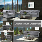 New Luxury Crushed Velvet Camden Chesterfield Sofa Suites 3 2 1 Seater - Silver