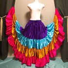 Mix Satin 4 Tiered Gypsy Skirt Belly Dance Jupe 25 Yd Flamenco Frill Ruffle BSGD