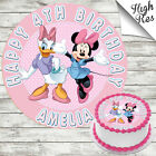 DAISY AND MINNIE EDIBLE ROUND BIRTHDAY CAKE TOPPER DECORATION PERSONALISED