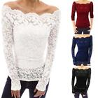 Fashion Women Off Shoulder Slash Neck Long Sleeve Lace Tops T-Shirt Blouse Newly