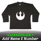Rebel Alliance Star Wars Solid Black Hockey Practice Jersey Optional Name Number