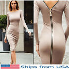 Long Sleeve Zipper Dress Elastic Evening Cocktail Party Tight Fitting Womens