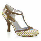 NEW Ruby Shoo Hatty T-bar Shoe Lemon / Pink Geometric / Navy Spots UK3-8 EU36-41