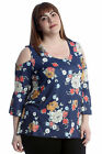 New Womens Plus Size Top Ladies Cold Shoulder Floral Print Blouse Bell Sleeves