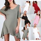 Ladies Cold Shoulder Hanky Hem Dress Womens Oversize V Neck Lagenlook T Shirt