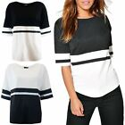 Womens Ladies Short Sleeve Baggy Contrast Stripes Oversized Round Neck Long Top