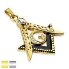 DieCast Masonic,Stainless Steel  Pendant, Gold IP and or Silver Tone Large Clasp