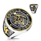 LynnCo Men's Stainless Steel Masonic Master Mason  Ring  size 9-13 Niece piece