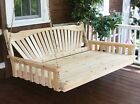 Wood Porch Swing Bed 6Ft 3 Person Hanging Bench Outdoor Patio Garden Furniture