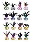 Lot of 48 party mask costume venetian masquerade Mardi Gras Feather New Year