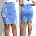 Women Stretch Pencil Skirt High Waist Hole Skirts Denim Jeans Short Mini Skirt