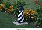 Amish-Made Replica Cape Hatteras, NC Lighthouses with Solar-Powered LED Lighting
