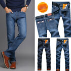 Mens Stylish Designed Straight Slim Fit Fleece Jeans Trousers Casual Jean Pants