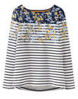 Joules Harbour Print Long Sleeve Jersey Top, Navy Gold Ditsy UK12